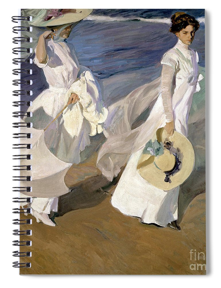 Sorolla Spiral Notebook featuring the painting Strolling along the Seashore by Joaquin Sorolla y Bastida