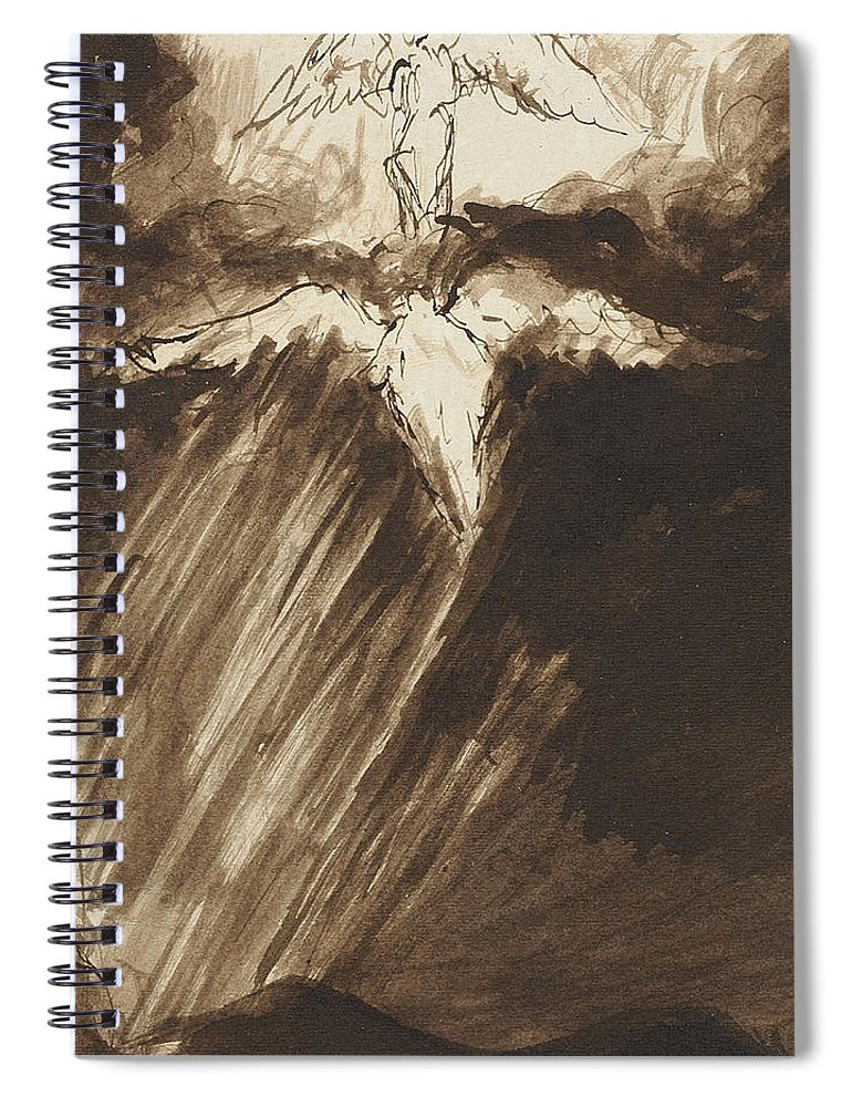 Angel Spiral Notebook featuring the drawing Study Of Jacob's Dream by John Constable