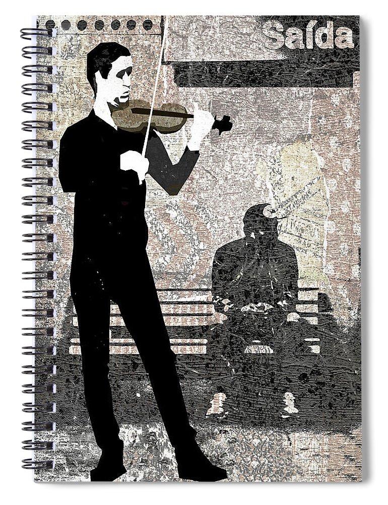 Subway Spiral Notebook featuring the digital art Subway Strings by Regina Wyatt