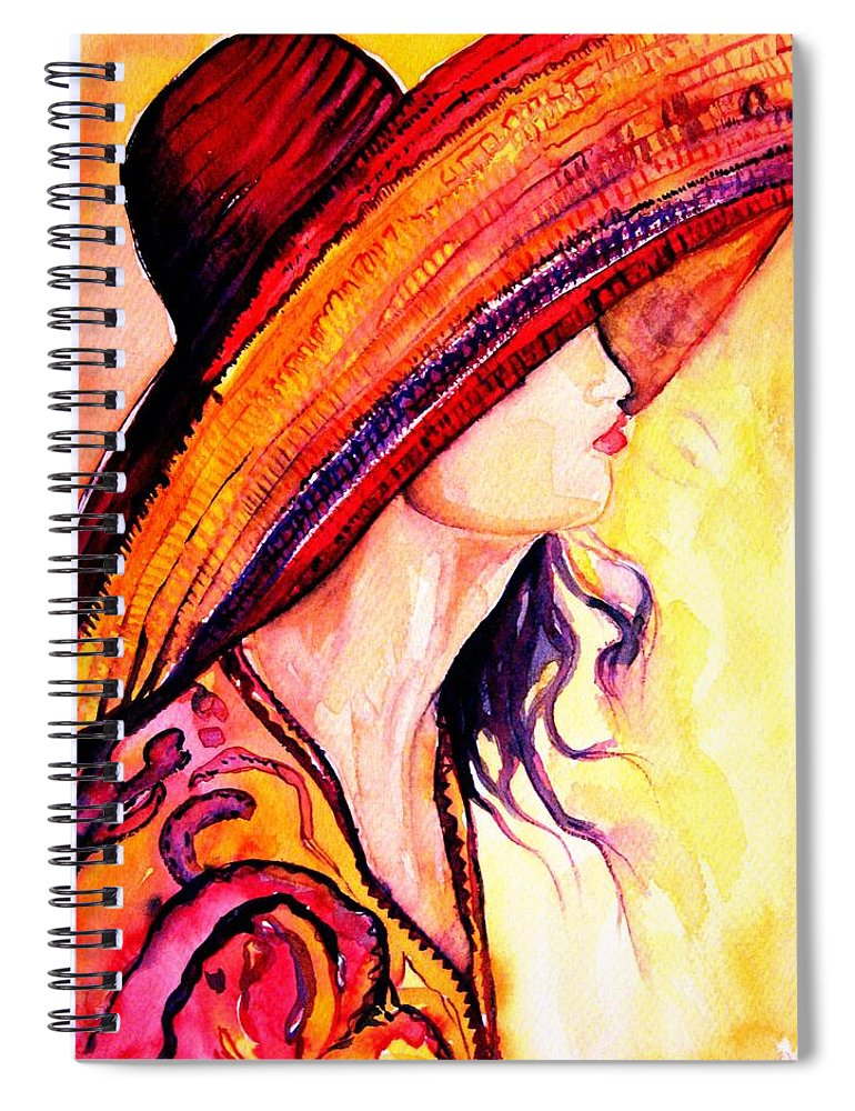 Elegant Lady Spiral Notebook featuring the painting Summer Hat by Carole Spandau