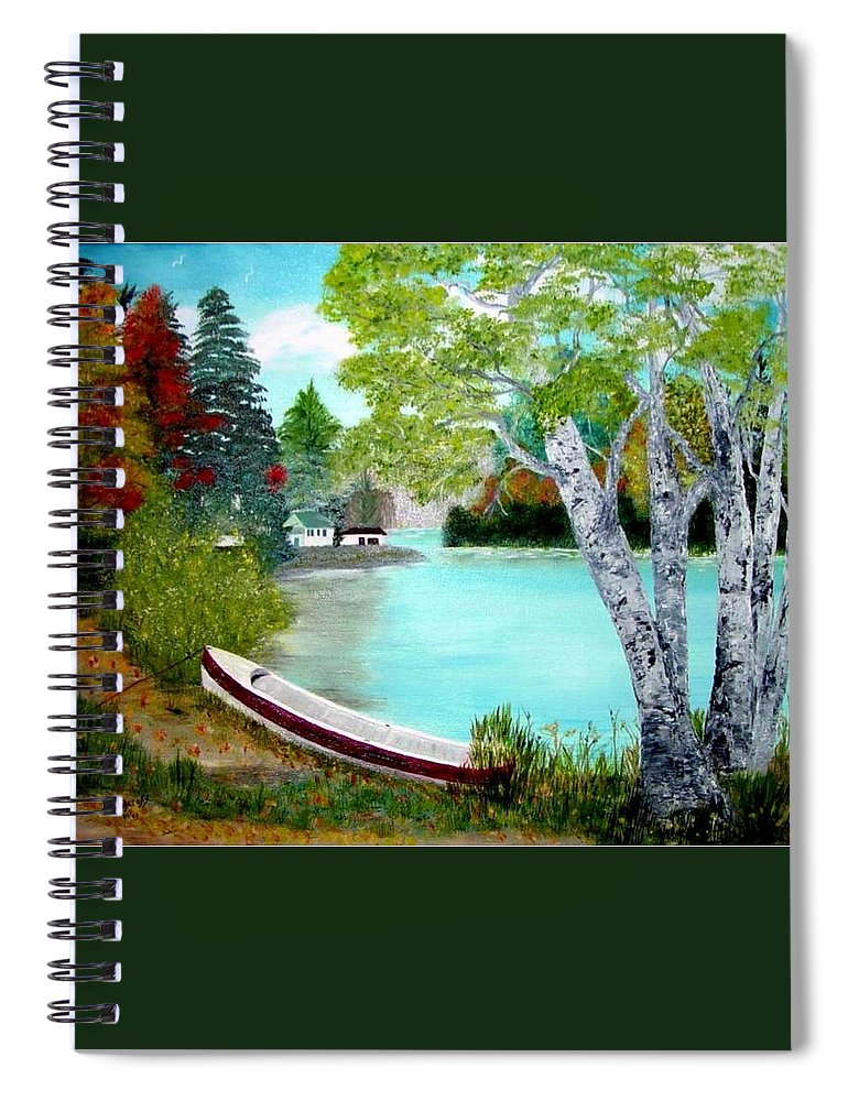 Beautiful Bracebridge Ontario Oil Painting Spiral Notebook featuring the painting Summer In The Muskoka's by Peggy Holcroft