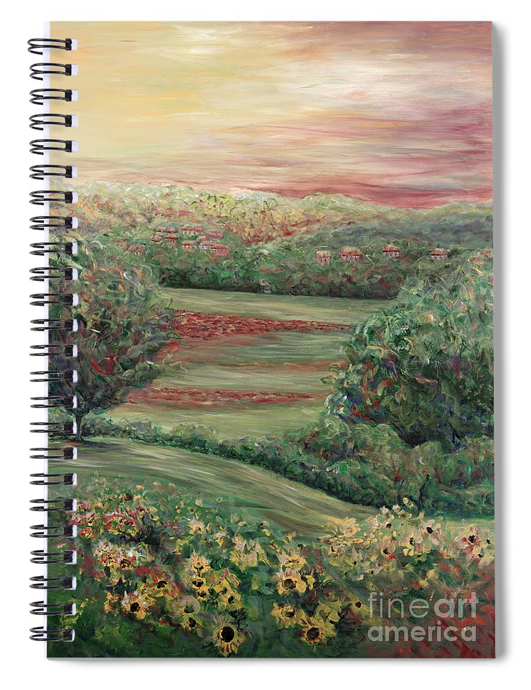 Landscape Spiral Notebook featuring the painting Summer in Tuscany by Nadine Rippelmeyer