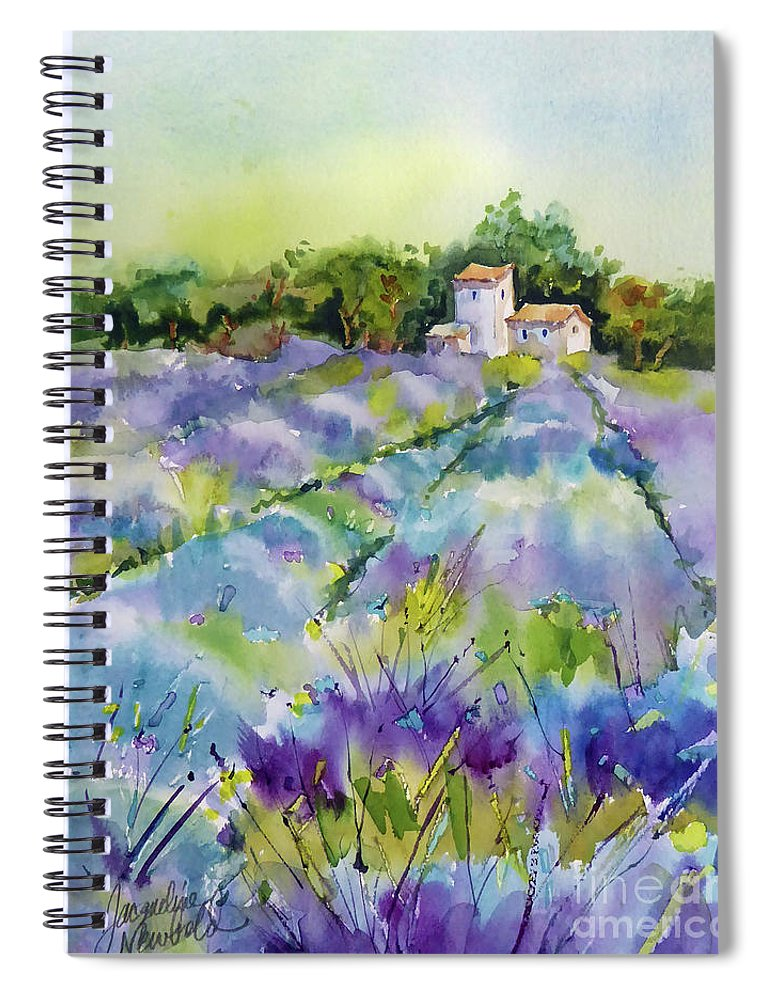 Lavender Spiral Notebook featuring the painting Summer Lavender by Jacqueline Newbold