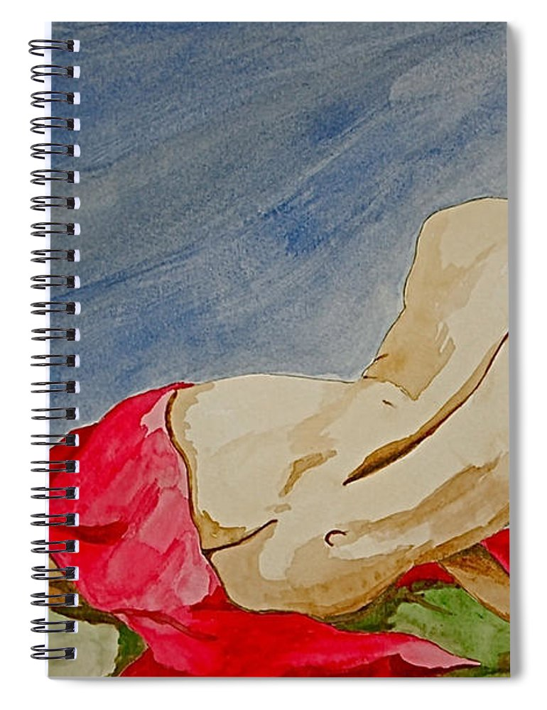 Nudes Red Cloth Spiral Notebook featuring the painting Summer morning 2 by Herschel Fall