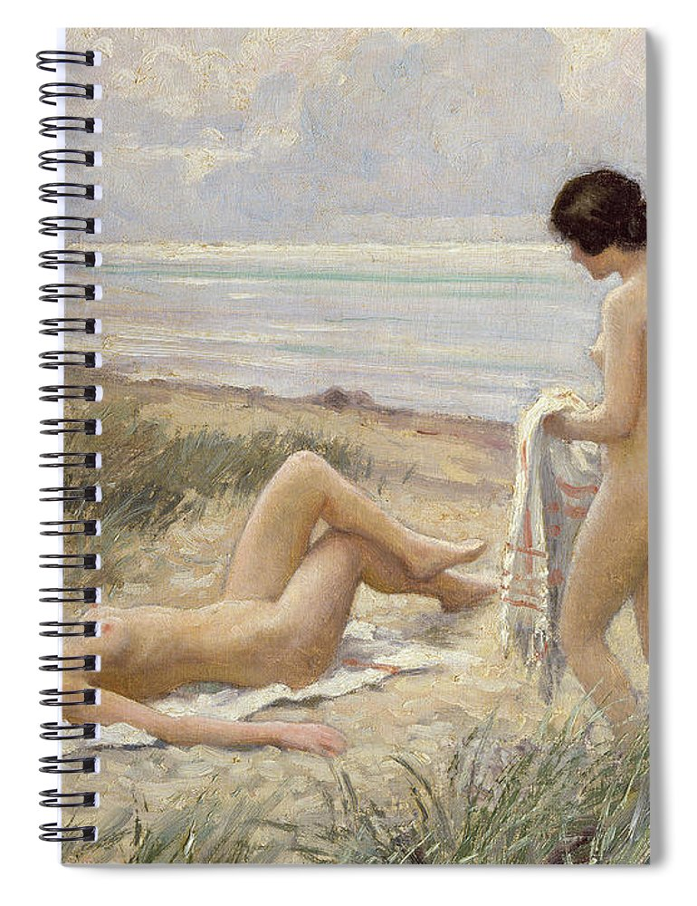 Summer On The Beach (oil On Canvas) By Paul Fischer. Sunbathing; Nude; Naked; Parasol; Beach; Coast; Female; Towel; Lesbian Spiral Notebook featuring the painting Summer On The Beach by Paul Fischer
