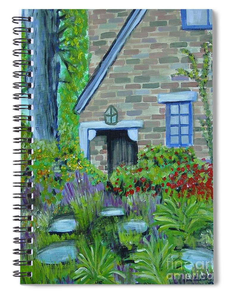 Cottage Spiral Notebook featuring the painting Summer Retreat by Laurie Morgan