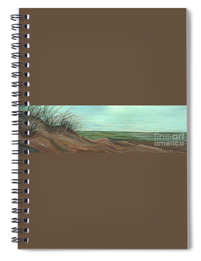 Summer Spiral Notebook featuring the painting Summer Sand Dunes by Nadine Rippelmeyer