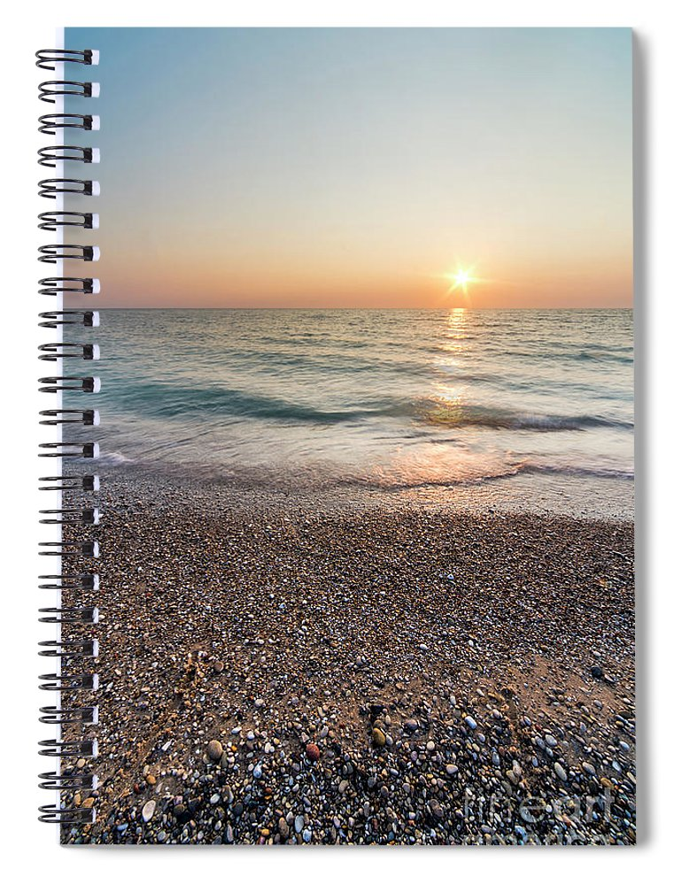 Pierport Spiral Notebook featuring the photograph Summer Sunset At Pierport by Twenty Two North Photography