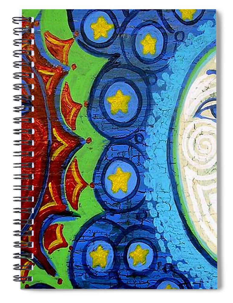 Sun Spiral Notebook featuring the painting Sun And Moon by Genevieve Esson