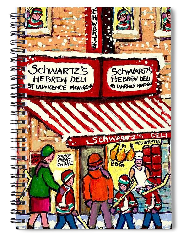 Montreal Spiral Notebook featuring the painting Sunday Lineup at the Deli by Carole Spandau