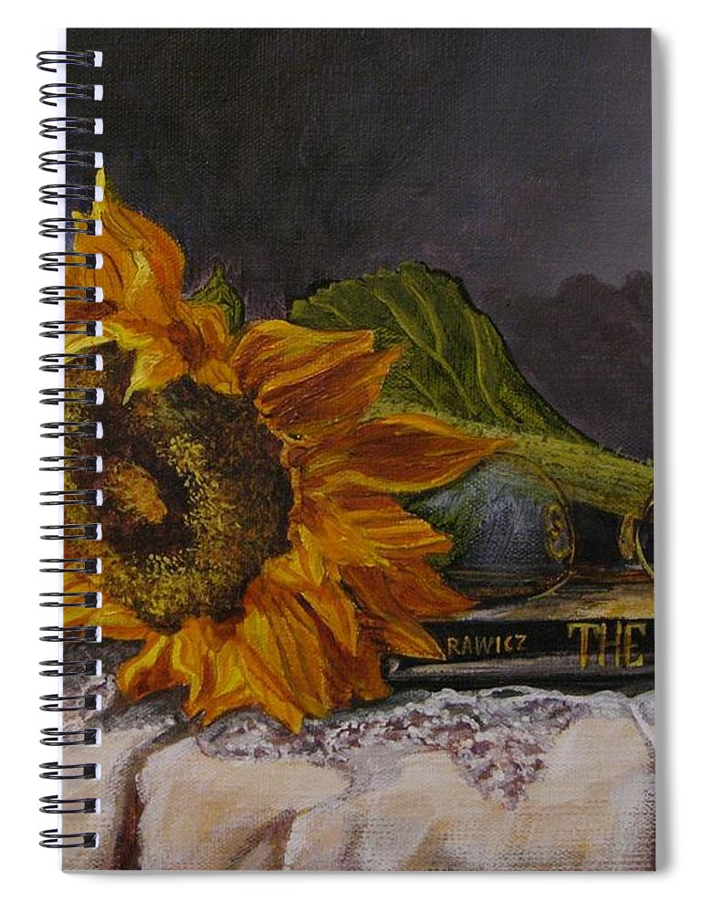 Judy Bradley Spiral Notebook featuring the painting Sunflower And Book by Judy Bradley