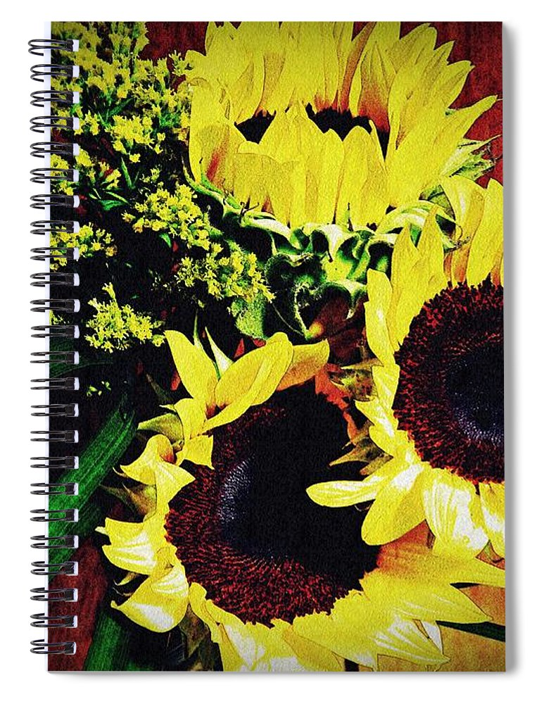 Sunflower Spiral Notebook featuring the photograph Sunflower Decor 3 by Sarah Loft