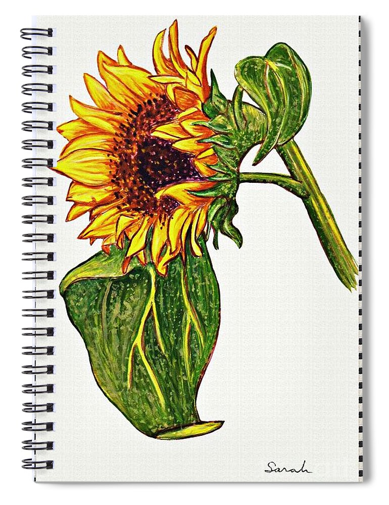 Sunflower Spiral Notebook featuring the painting Sunflower In Gouache by Sarah Loft