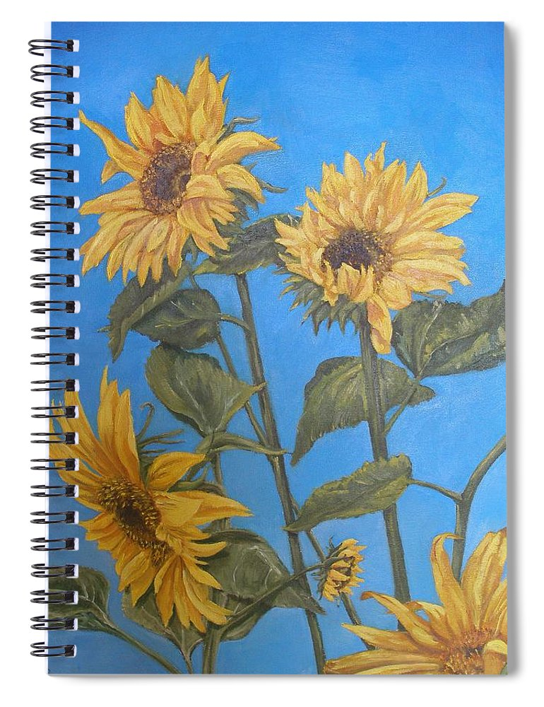 Sunflower Spiral Notebook featuring the painting Sunflower by Travis Day
