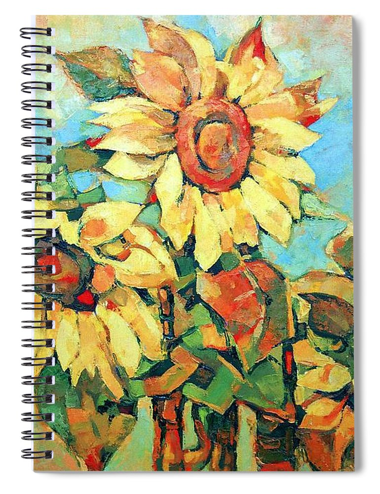 Sunflowers Spiral Notebook featuring the painting Sunflowers by Iliyan Bozhanov