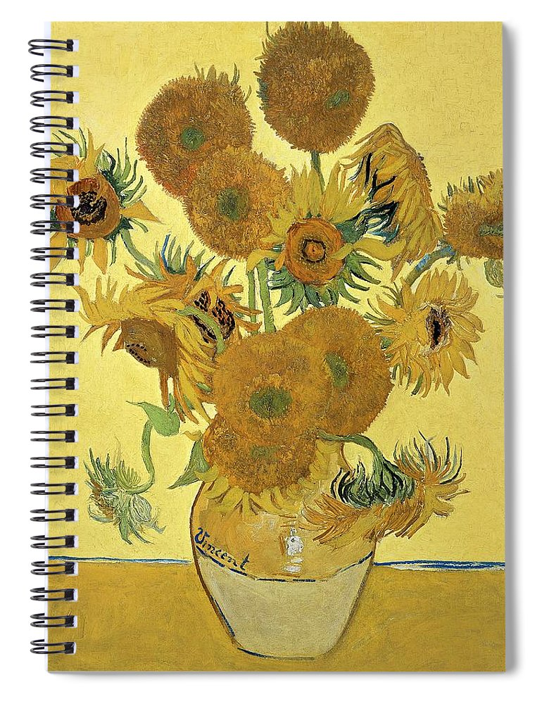 Sunflowers Spiral Notebook featuring the painting Sunflowers, 1888 by Vincent Van Gogh