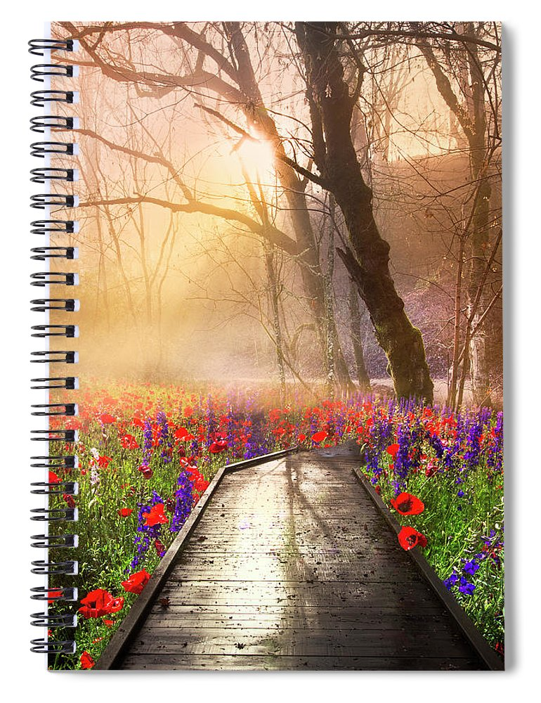 Appalachia Spiral Notebook featuring the photograph Sunlit Wildflowers by Debra and Dave Vanderlaan