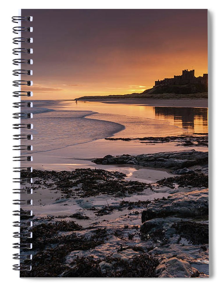 Sunrise Spiral Notebook featuring the photograph Sunrise at Bamburgh Castle #4, Northumberland, North East England by Anthony Lawlor