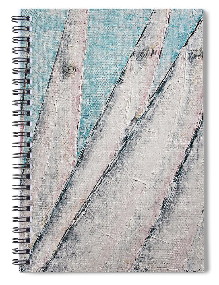 Abstract Sail Spiral Notebook featuring the painting Sunrise Fog Regatta by Ben Gertsberg