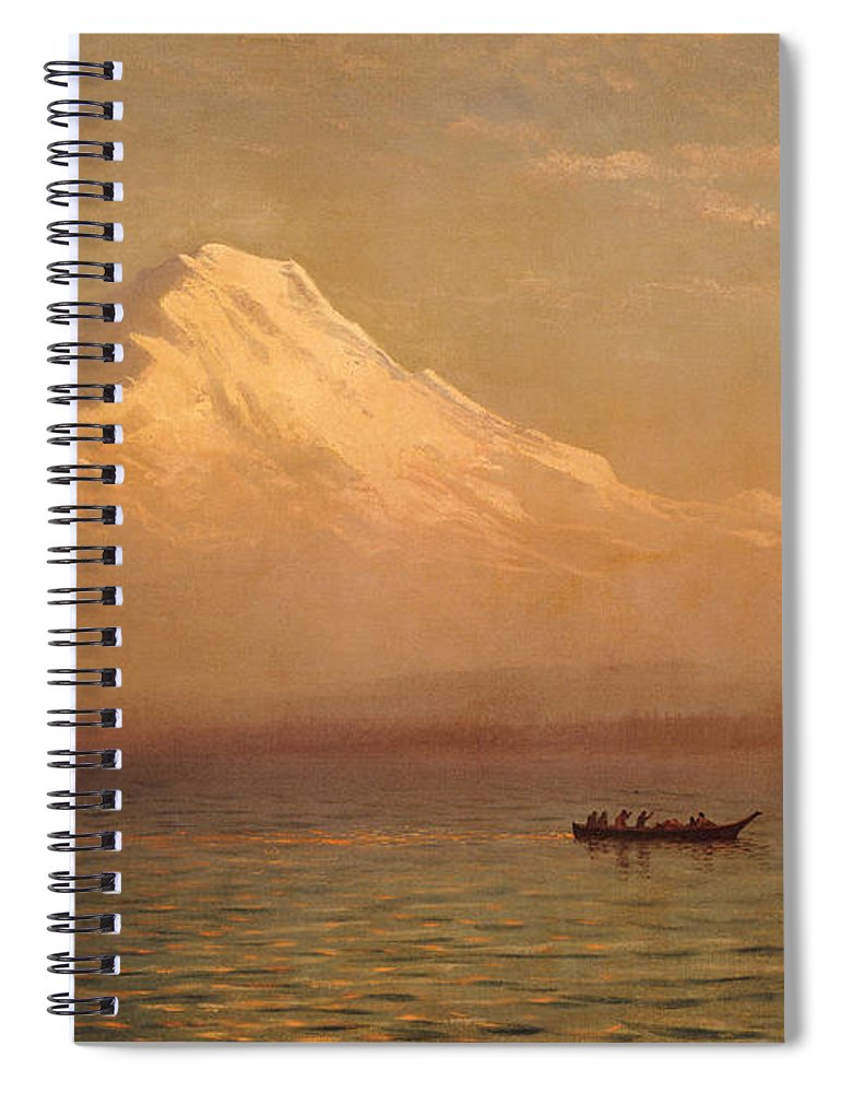 American; Landscape; Mount Rainier; Mt; Washington State; Mowich Lake; Volcano; Mountain; West; Western; Northwest; Wilderness; Boat; Dawn; Snowcapped; Snow-capped Spiral Notebook featuring the painting Sunrise On Mount Tacoma by Albert Bierstadt