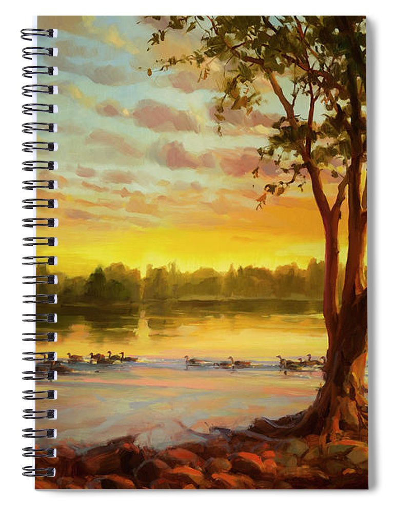 Landscape Spiral Notebook featuring the painting Sunrise On The Columbia by Steve Henderson