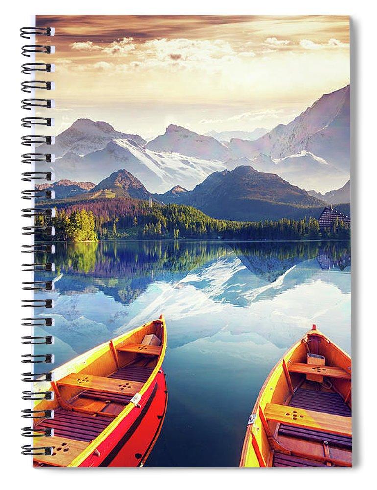 Alp Spiral Notebook featuring the photograph Sunrise Over Australian Lake by Thomas Jones