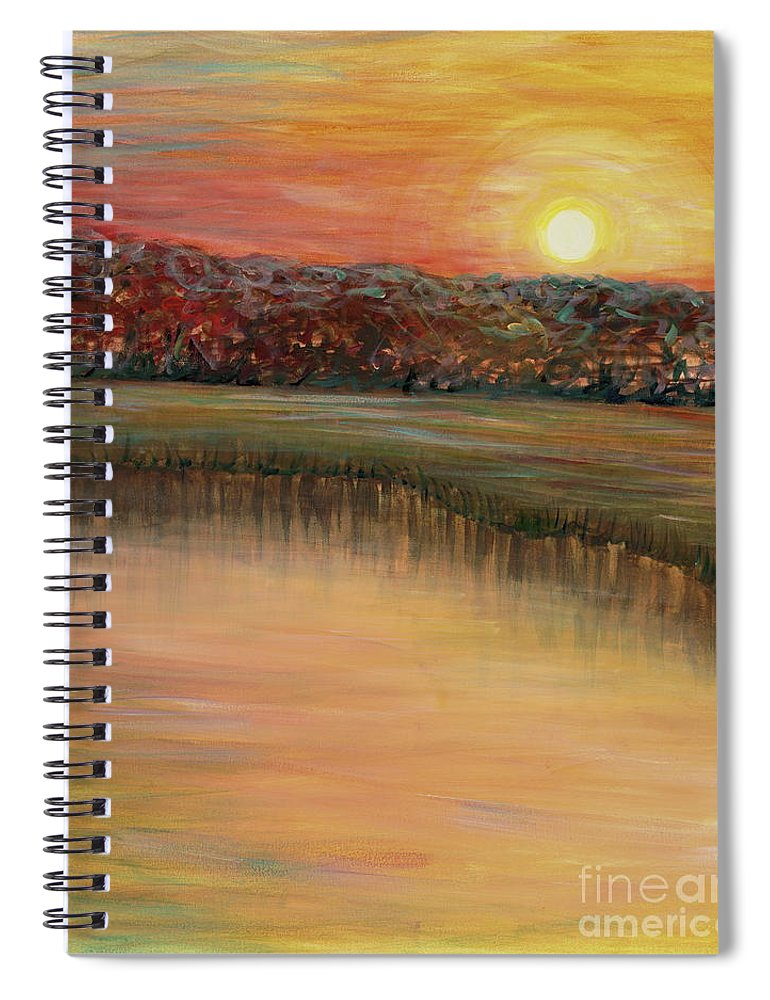 Sunrise Spiral Notebook featuring the painting Sunrise Over the Marsh by Nadine Rippelmeyer