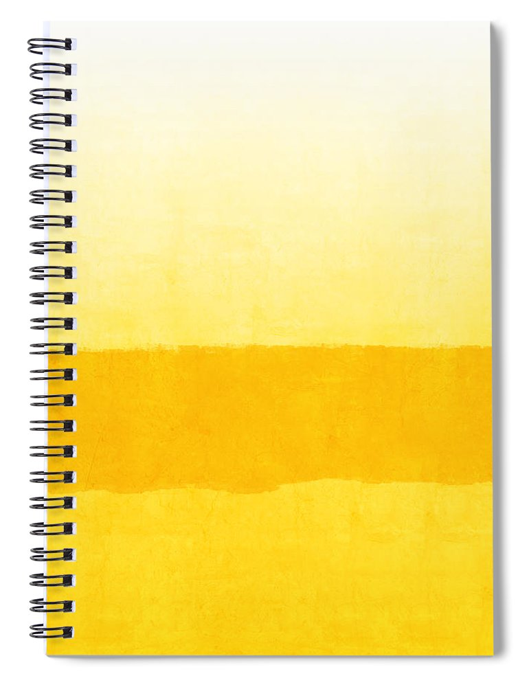 Abstract Spiral Notebook featuring the painting Sunrise- Yellow Abstract Art by Linda Woods by Linda Woods