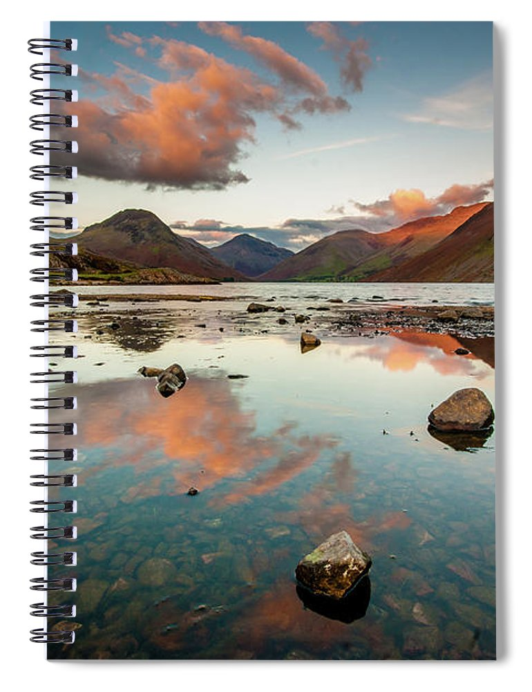 Sunrise Spiral Notebook featuring the photograph Sunset at Wast Water #1, Wasdale, Lake District, England by Anthony Lawlor
