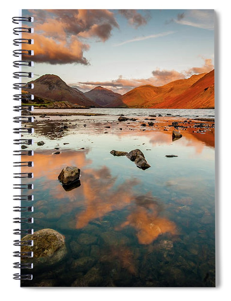 Sunrise Spiral Notebook featuring the photograph Sunset at Wast Water #2, Wasdale, Lake District, England by Anthony Lawlor