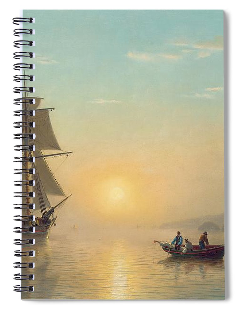 Boat Spiral Notebook featuring the painting Sunset Calm In The Bay Of Fundy by William Bradford