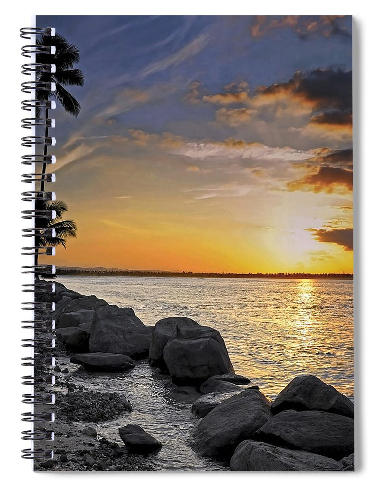 Caribbean Spiral Notebook featuring the photograph Sunset Caribe by Stephen Anderson