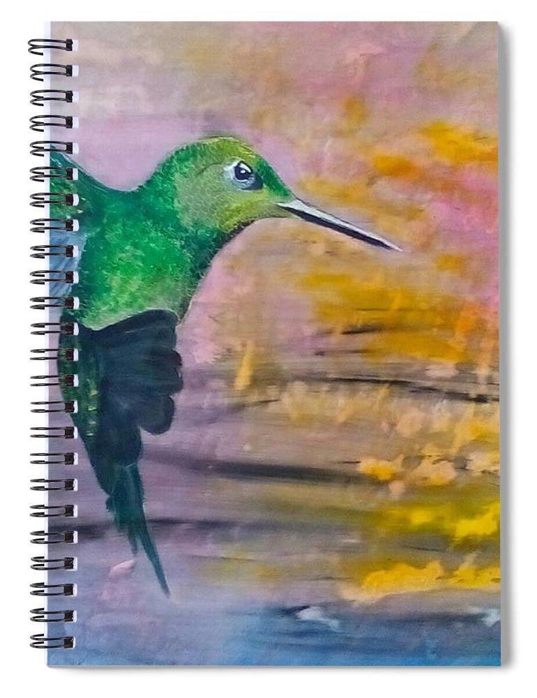 Hummingbird Spiral Notebook featuring the painting Sunset Dancer by J Bauer