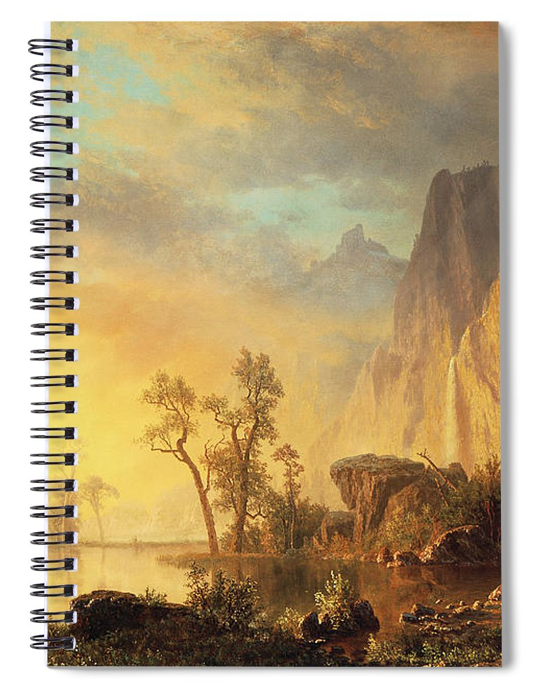 Bierstadt Spiral Notebook featuring the painting Sunset In The Rockies by Albert Bierstadt