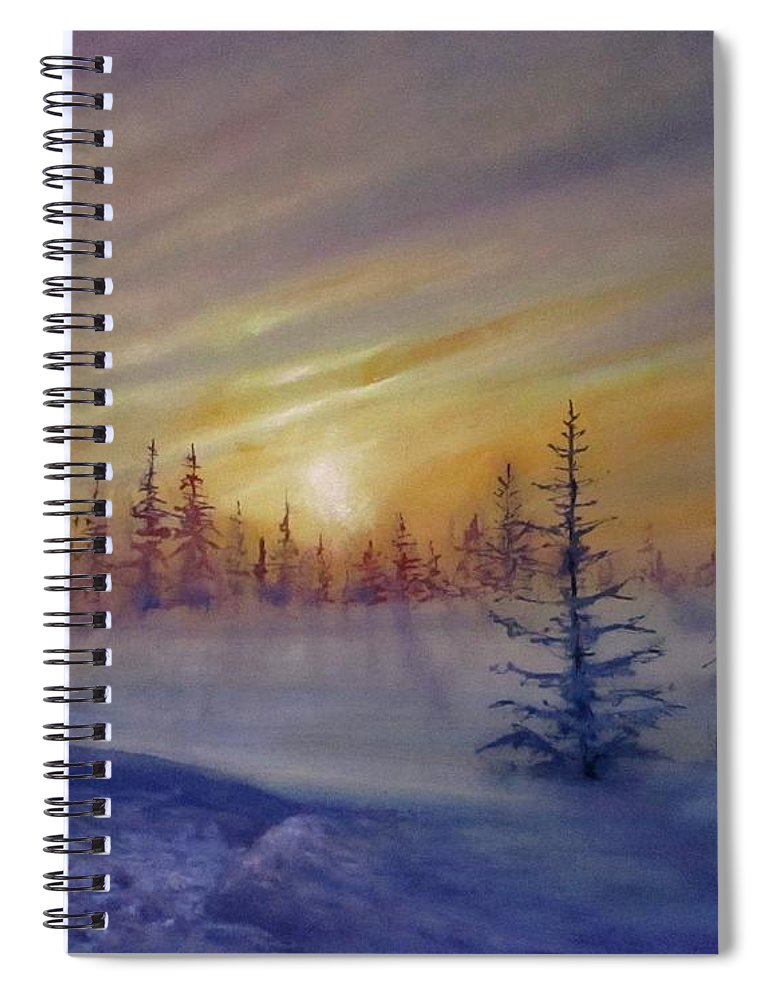 Winter Spiral Notebook featuring the painting Sunset by Natalja Picugina