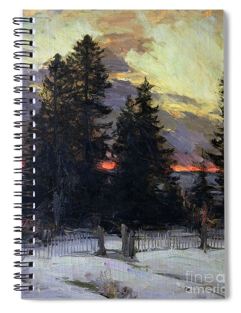 Sunset Spiral Notebook featuring the painting Sunset Over A Winter Landscape by Abram Efimovich Arkhipov