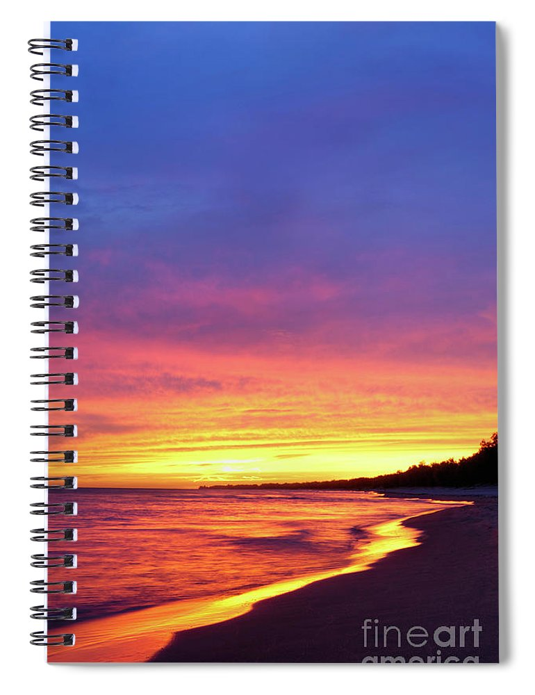 Beach Spiral Notebook featuring the photograph Sunset Over Beach by Maxim Images Prints