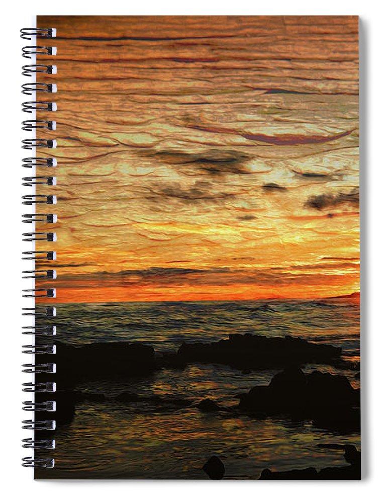 Hawaii Spiral Notebook featuring the digital art Sunset Over Hawaii by Christopher Eng-Wong