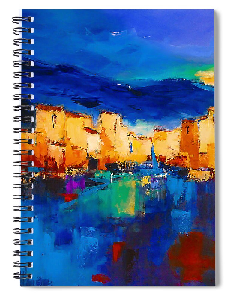 Cinque Terre Spiral Notebook featuring the painting Sunset Over The Village by Elise Palmigiani