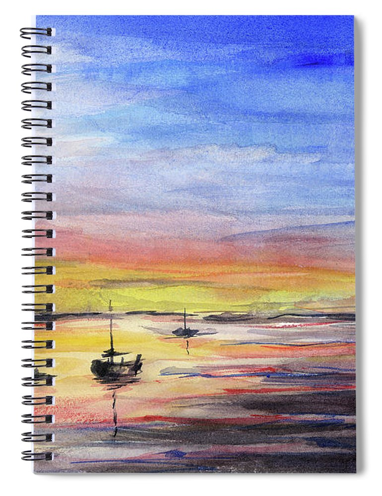 Watercolor Spiral Notebook featuring the painting Sunset Watercolor Downtown Kirkland by Olga Shvartsur