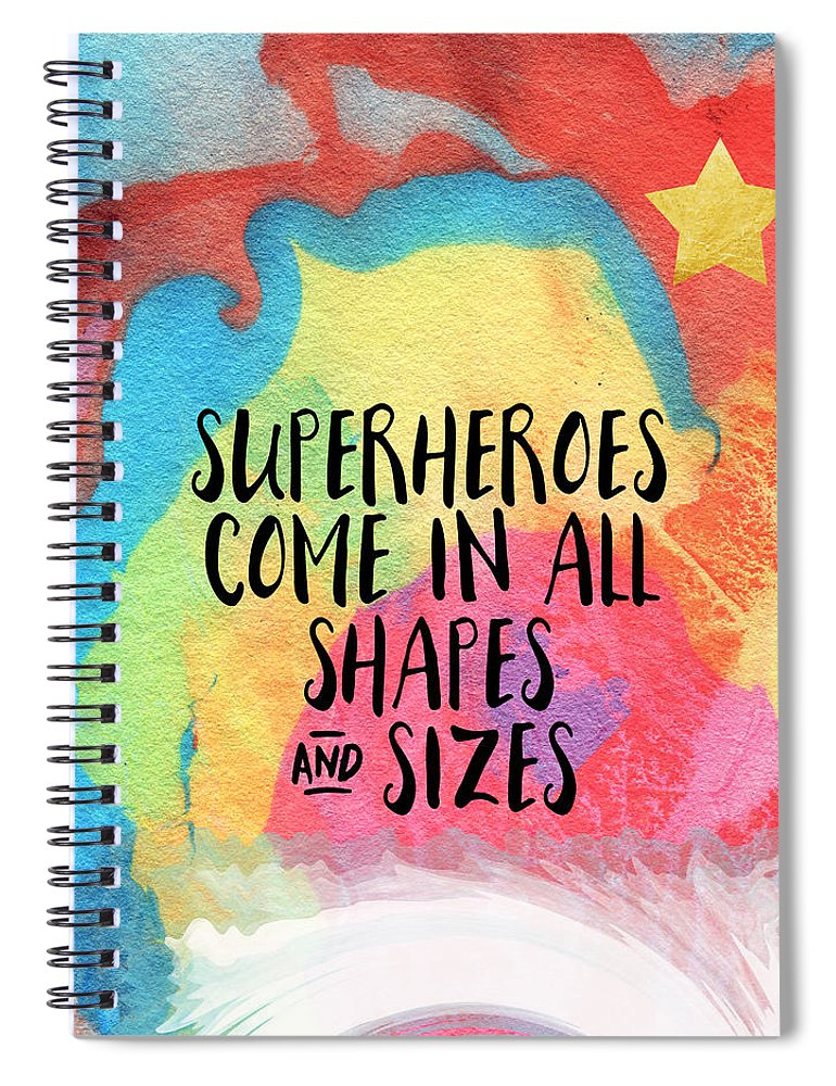 Inspirational Spiral Notebook featuring the painting Superheroes- inspirational art by Linda Woods by Linda Woods