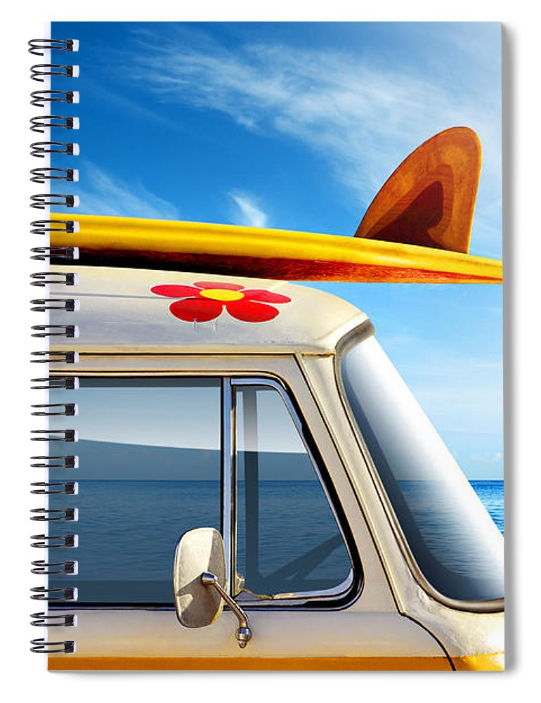 60ties Spiral Notebook featuring the photograph Surf Van by Carlos Caetano