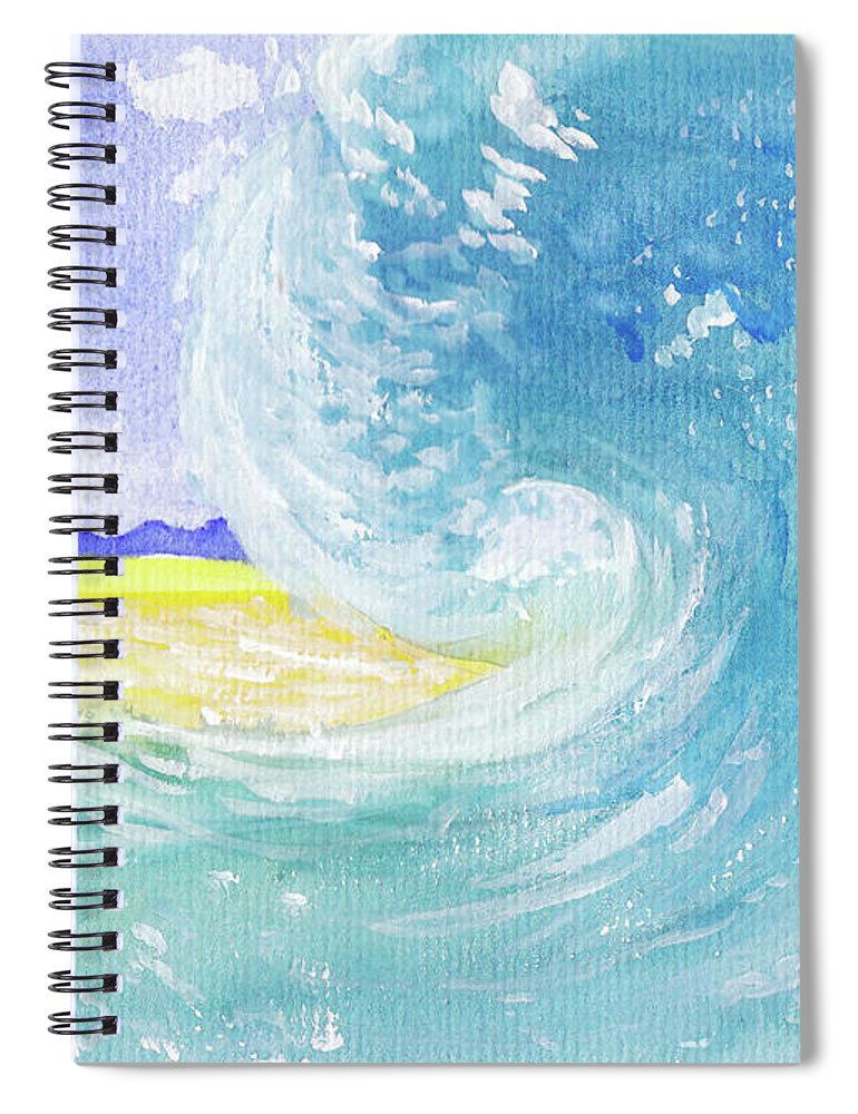 Seascape Spiral Notebook featuring the painting Surfing Time by Xiao Zeng