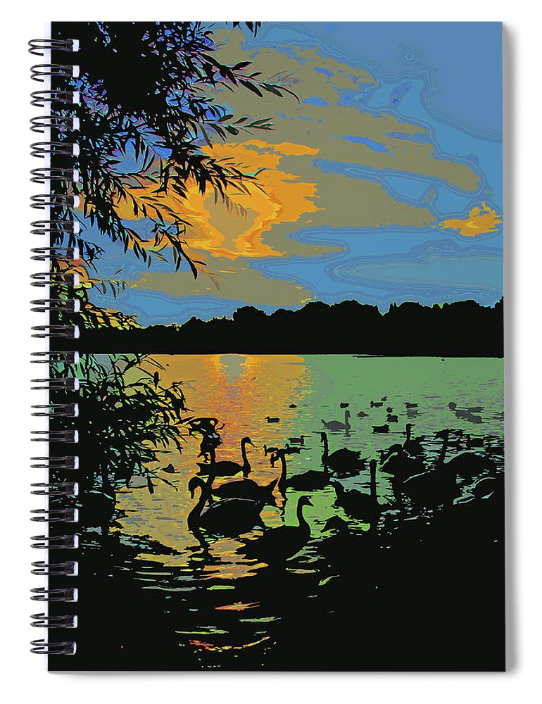 Swans Spiral Notebook featuring the photograph Swans At Sunset by James Hill