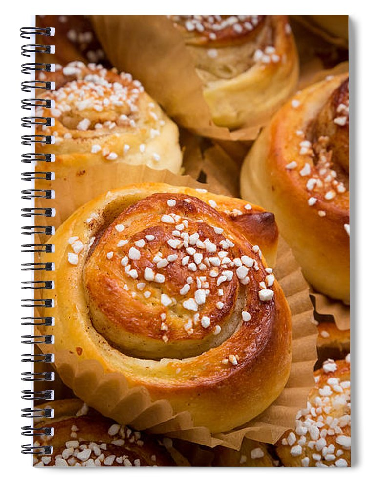Europe Spiral Notebook featuring the photograph Swedish Cinnamon Rolls by Inge Johnsson