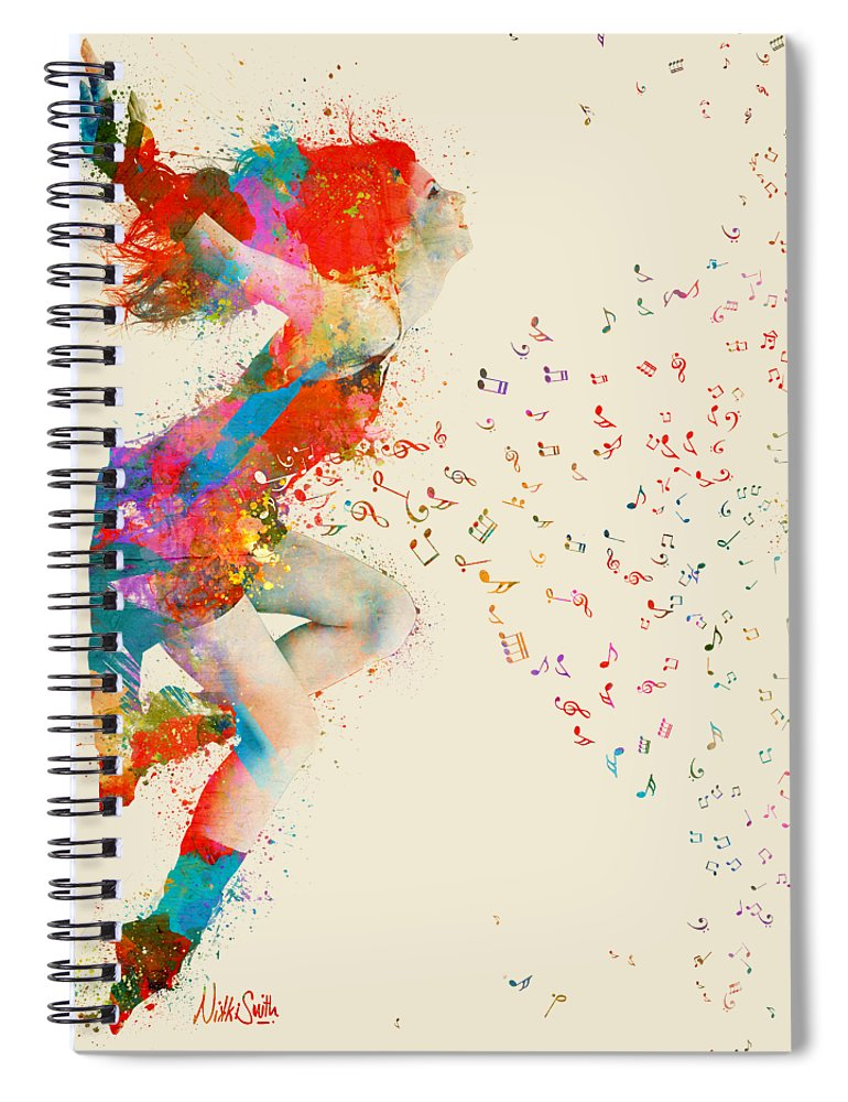 Song Spiral Notebook featuring the digital art Sweet Jenny Bursting with Music by Nikki Smith