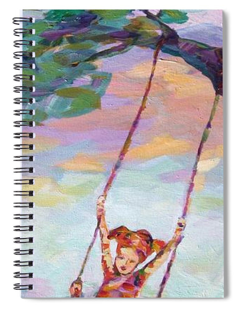 Child Swinging Spiral Notebook featuring the painting Swinging With Sunset Energy by Naomi Gerrard