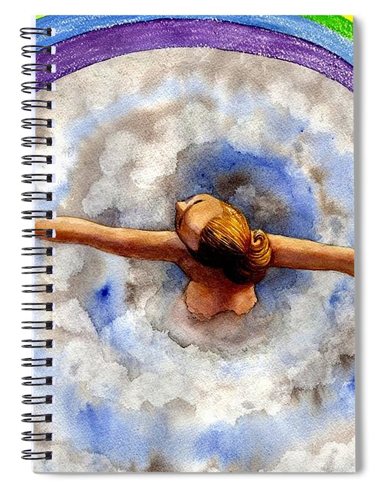 Rainbow Spiral Notebook featuring the painting Swirl by Catherine G McElroy