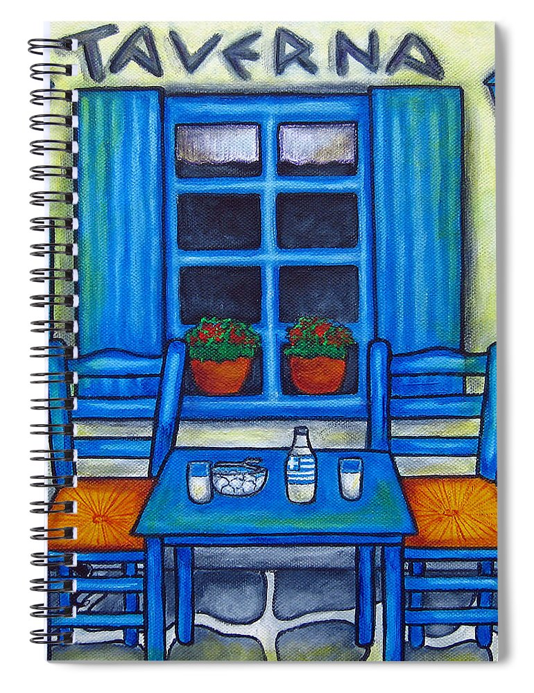 Blues Spiral Notebook featuring the painting Table for Two in Greece by Lisa Lorenz