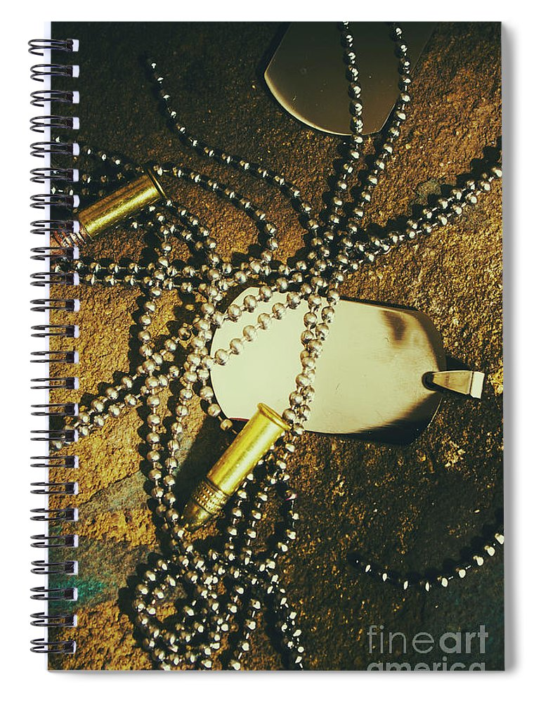 Military Spiral Notebook featuring the photograph Tagging The Fallen by Jorgo Photography - Wall Art Gallery